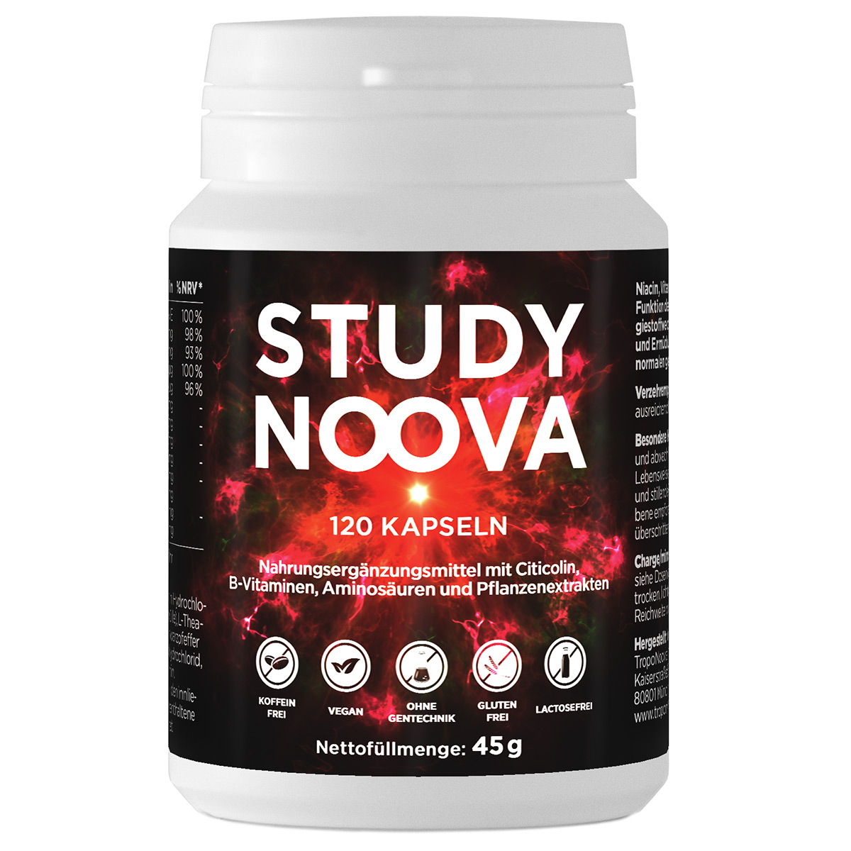 STUDY NOOVA Nootriopic Nootropika Konzentration Tablette